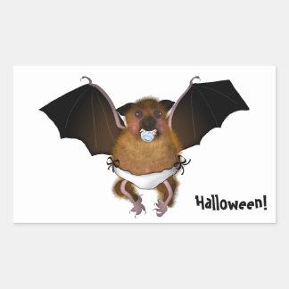 Cute Halloween baby bat Stickers, Glossy Rectangular Sticker