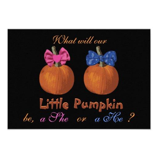 Cute Halloween Baby Gender Reveal Custom Invitations