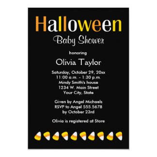 Cute Halloween Baby Shower Candy Invitations