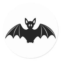 Cute halloween bat cartoon classic round sticker
