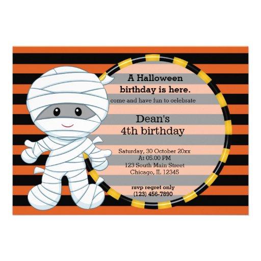 Cute halloween birthday personalized invites