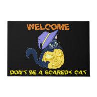 Cute Halloween Black Cat and Pumpkin Doormat