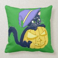 Cute Halloween Black Cat and Pumpkin Pillows