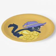 Cute Halloween Black Cat and Pumpkin 9 Inch Paper Plate