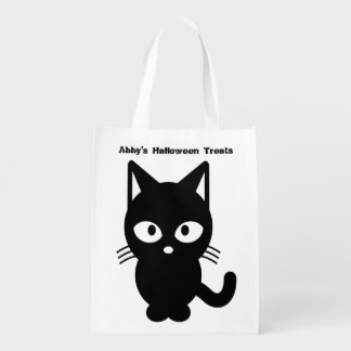 Cute Halloween Black Cat Customize It Grocery Bag