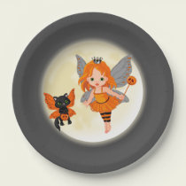 Cute Halloween black cat fairy party paper plate