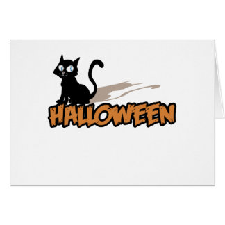 "Cute, ""Halloween Black Cat"" Greeting Cards"