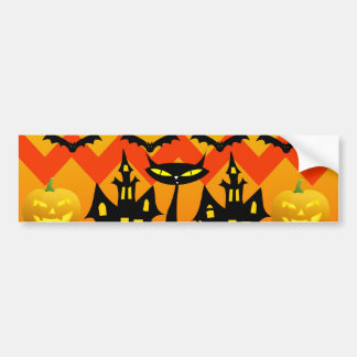 Cute Halloween Black Cat Haunted House Chevron Bumper Sticker