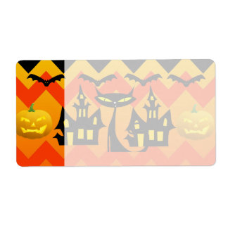 Cute Halloween Black Cat Haunted House Chevron Label
