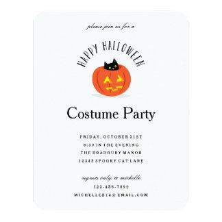 Cute Halloween Black Cat in Pumpkin Costume Party 4.25x5.5 Paper Invitation Card
