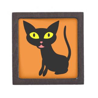 Cute, Halloween Black Cat Premium Trinket Boxes