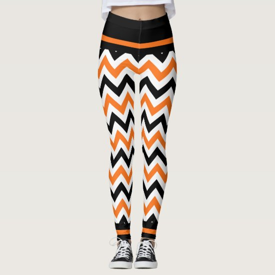 Cute Halloween Black Orange Chevron Leggings