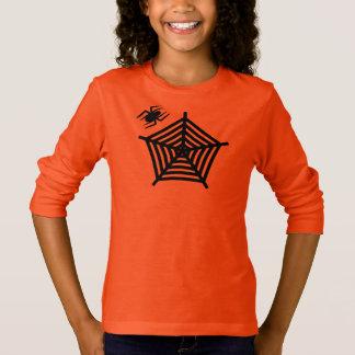Cute Halloween Black Spider and its Web Custom T-Shirt