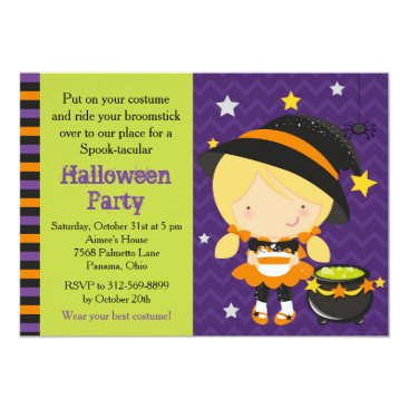 Halloween Themed Cute Halloween Blonde Hair Witch Party Card