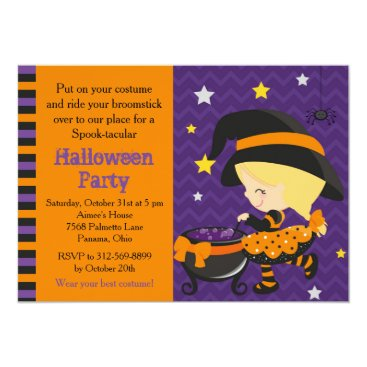 Halloween Themed Cute Halloween Blonde Witch Party Card