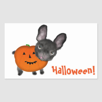 Cute Halloween Bulldog Rectangle Stickers, Glossy Rectangular Sticker