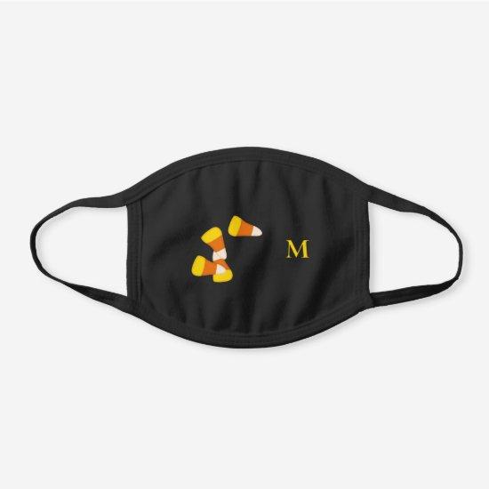cute Halloween candy corn monogrammed Black Cotton Face Mask
