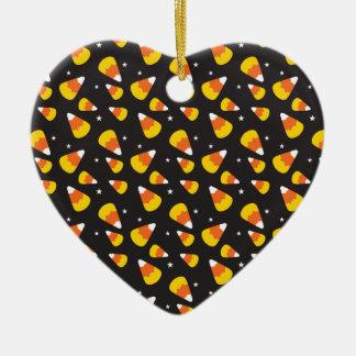 Cute Halloween candy corn on black pattern Ceramic Ornament