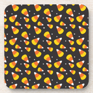 Cute Halloween candy corn on black pattern Drink Coaster
