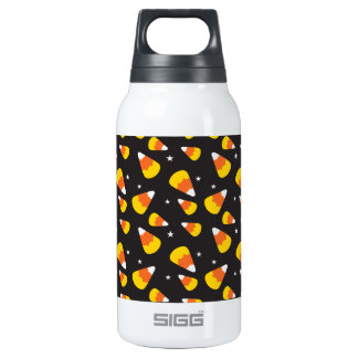 Cute Halloween candy corn on black pattern Insulated Water Bottle
