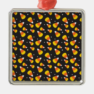 Cute Halloween candy corn on black pattern Metal Ornament
