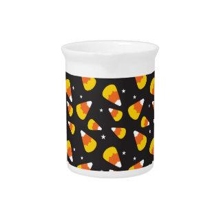 Cute Halloween candy corn on black pattern Pitchers
