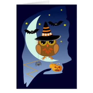 Cute Halloween card with Owl, bats & custom text