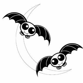 Cute Halloween Cartoon Bats With Moon Cutout