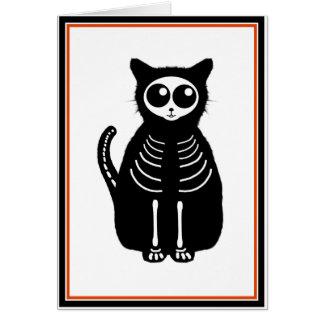 Cute Halloween Cartoon Cat Skeleton Greeting Card