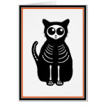 Cute Halloween Cartoon Cat Skeleton Greeting Cards