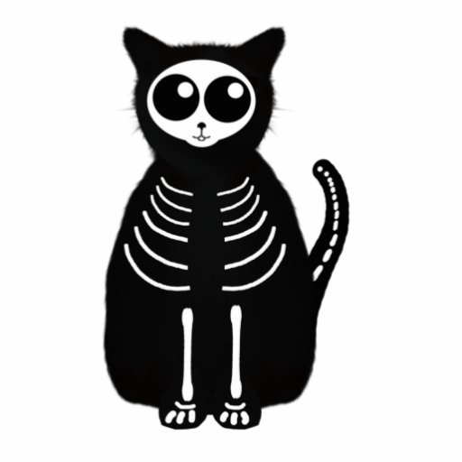 Cute Halloween Cartoon Cat Skeleton Photo Cutout
