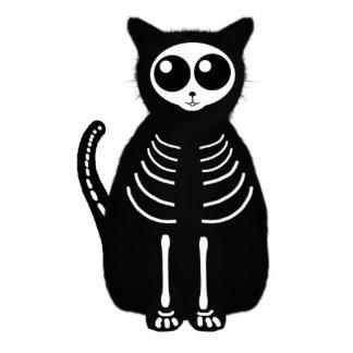 Cute Halloween Cartoon Cat Skeleton Photo Sculptures