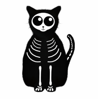 Cute Halloween Cartoon Cat Skeleton Photo Cutout