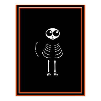 Cute Halloween Cartoon Cat Skeleton Postcard