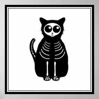 Cute Halloween Cartoon Cat Skeleton Poster