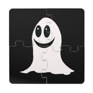 Cute Halloween Cartoon Ghost Puzzle Coaster