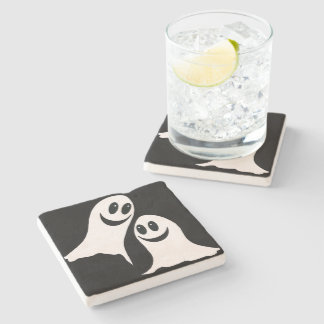 Cute Halloween Cartoon Ghosts Stone Beverage Coaster
