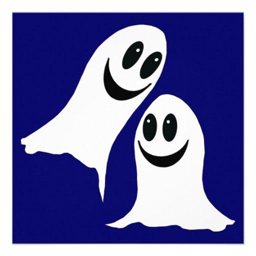 cute halloween cartoon ghosts personalized invite    Cartoon Halloween Ghosts