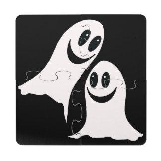 Cute Halloween Cartoon Ghosts Puzzle Coaster