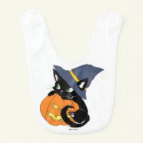 Cute Halloween Cat Baby Bib