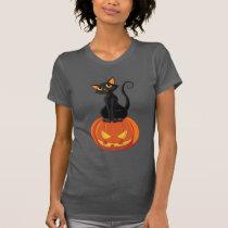 Cute Halloween cat t-shirt with cat and pumpkin