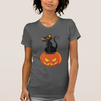 Cute Halloween cat t-shirt with cat and pumpkin