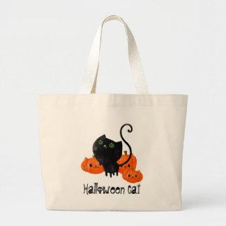 Cute Halloween cat with pumpkins Jumbo Tote Bag