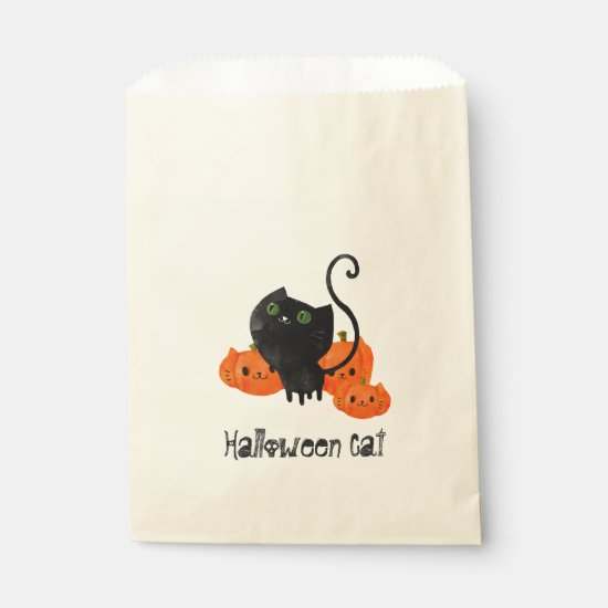 Cute Halloween cat with pumpkins Favor Bag
