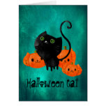 Cute Halloween cat with pumpkins Greeting Card