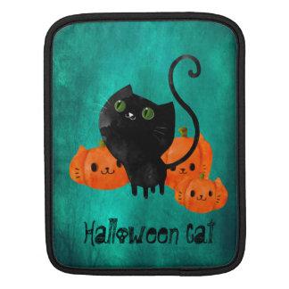 Cute Halloween cat with pumpkins iPad Sleeve