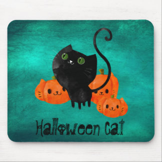 Cute Halloween cat with pumpkins Mouse Pad