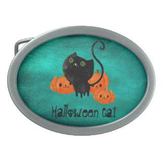 Cute Halloween cat with pumpkins Oval Belt Buckle