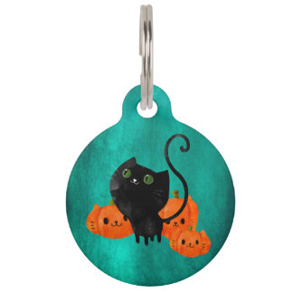 Cute Halloween cat with pumpkins Pet Tag