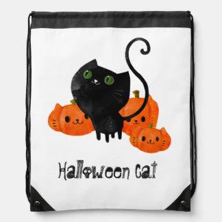 Cute Halloween cat with pumpkins Drawstring Bag